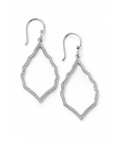 Clear CZ pave open marquise earrings