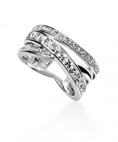 Clear CZ Pave Crossover Ring