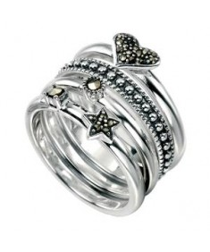 Marcasite Heart/Star/Dot 4 Stacking Ring