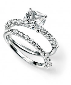 Clear CZ Square 2 Stacking Ring