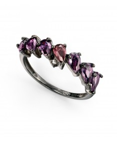 black plated purple, clear and vintage purple CZ ring