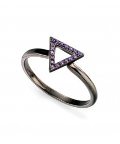 black open triangle ring with purple CZ