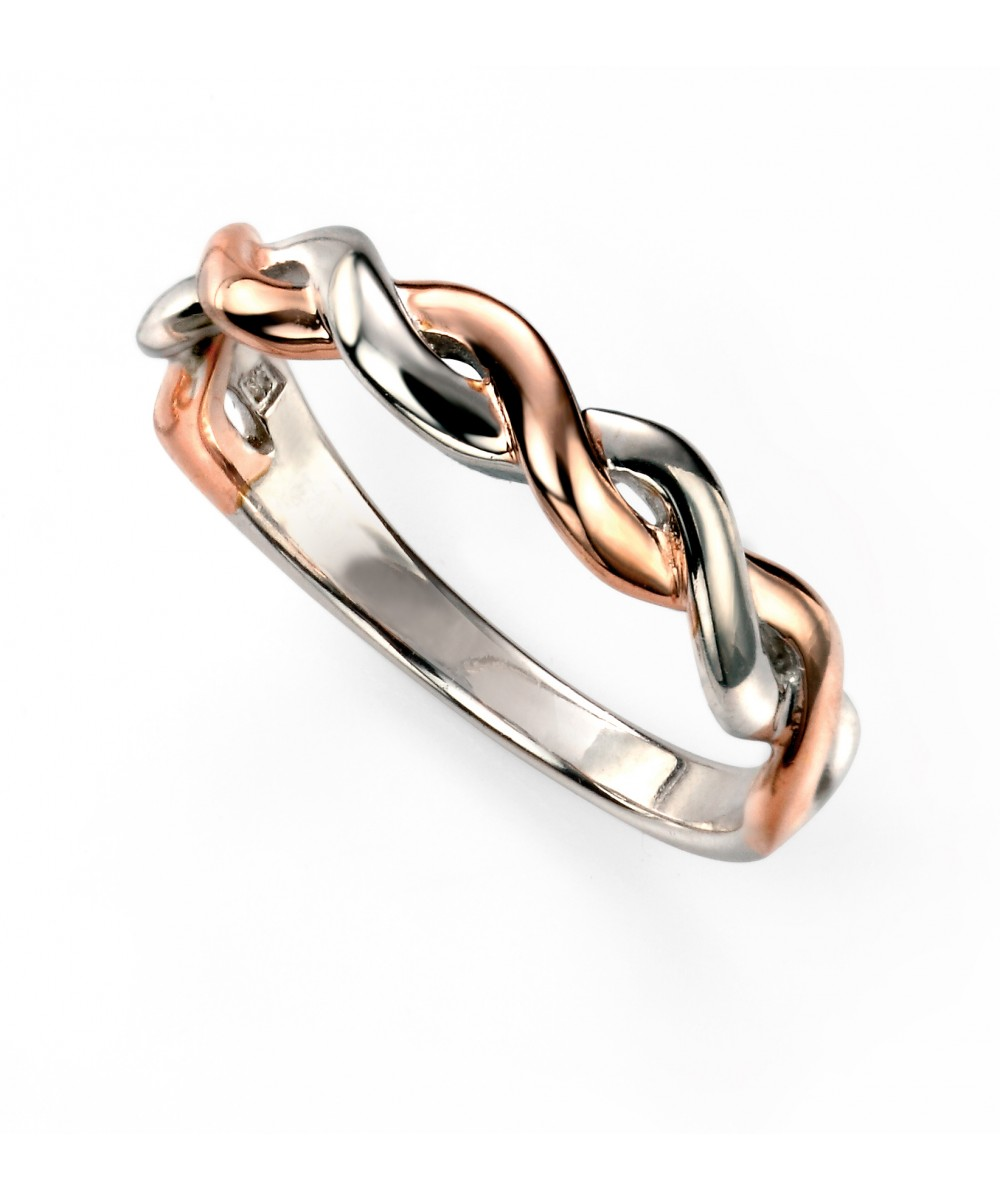 Elements Silver Sterling Silver Rose Gold and Rhodium Fixed Twist Ring yLOfnU4UV